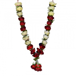 Decorative Handmade Artificial Flower Garland (Maalai) - Red & Sandal