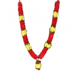 Decorative Handmade Artificial Rose Garland (Maalai) - Red & Yellow
