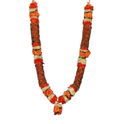 Decorative Handmade Artificial Flower Garland (Maalai) - Orange with Gold Chain